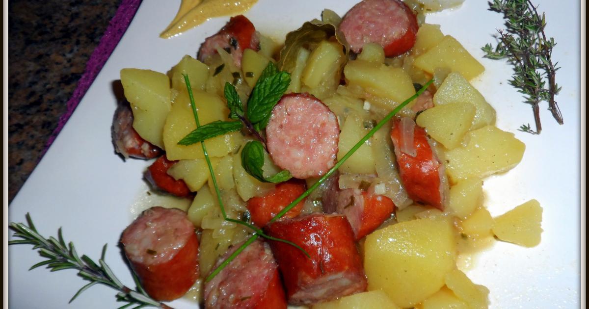 Recette rago t de pommes de terre avec des saucisses - Cuisiner des saucisses fumees ...