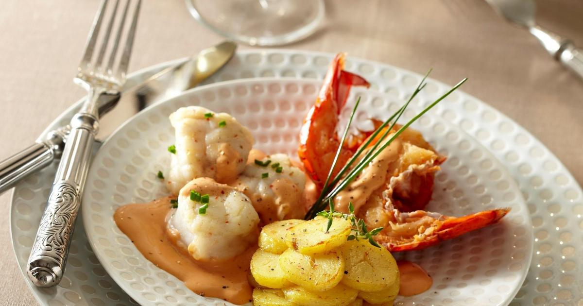 Recette homard et lotte l 39 armoricaine rattes du touquet rissol es 750g - Lotte a l armoricaine recette cuisine ...