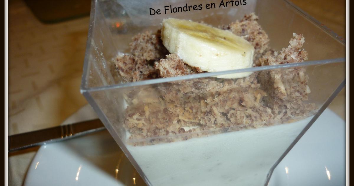 Recette panna cotta la banane et son crumble noix de coco chocolat 750g - Panna cotta noix de coco ...