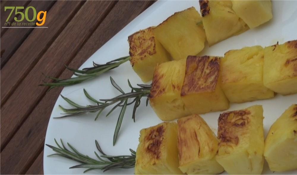 Recette ananas au romarin la plancha en vid o for Viande a la plancha