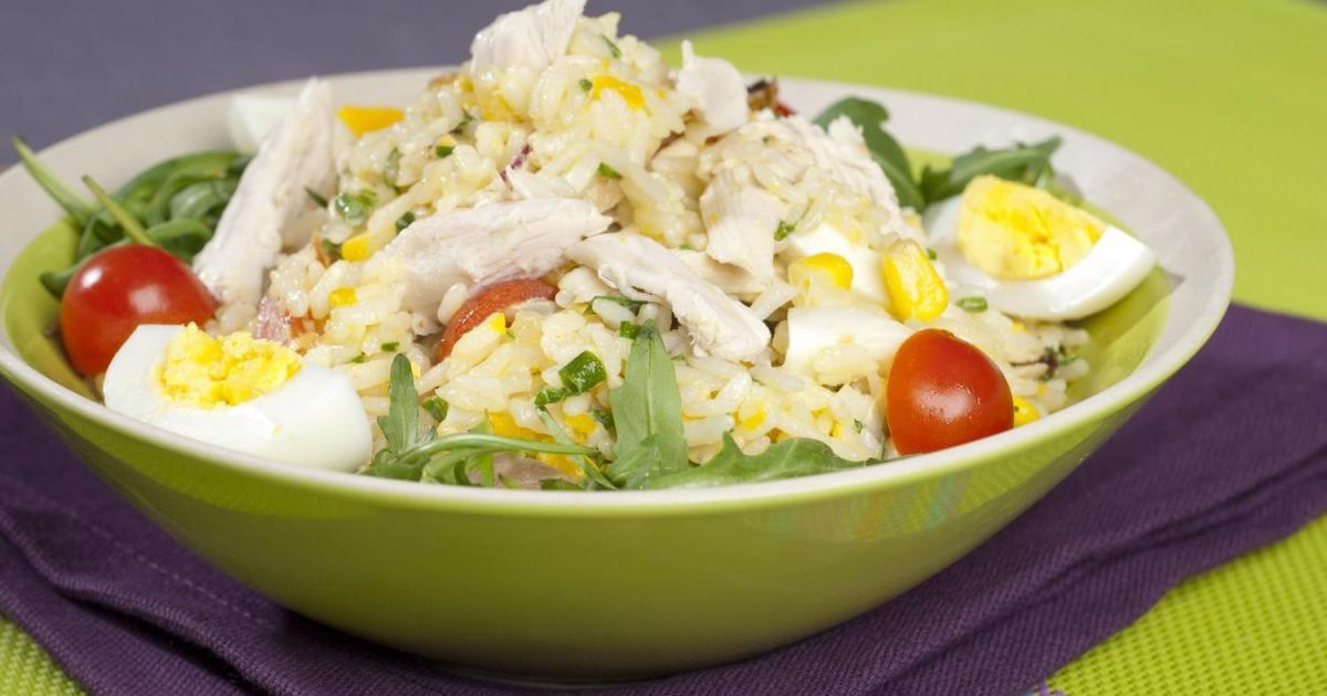 Recette - Salade de riz au maïs et poulet  Notée 4.2/5