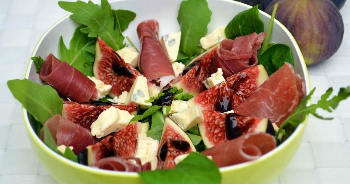 Recette salade de figues au jambon cru et cambozola 750g - Cuisiner des figues fraiches ...