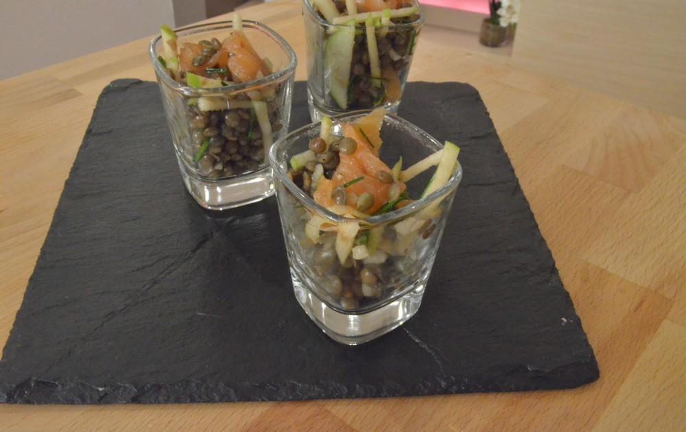 1c5489318a17e0 Recette - Salade de lentilles, saumon fumé et pomme granny en vidéo