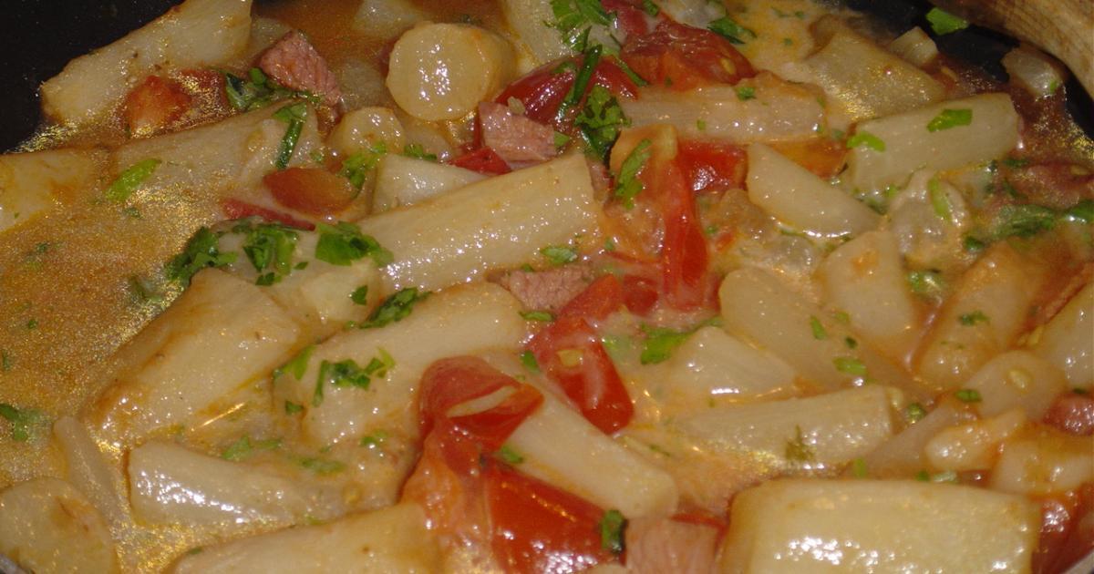 Recette - Salsifis au jambon et tomates   750g