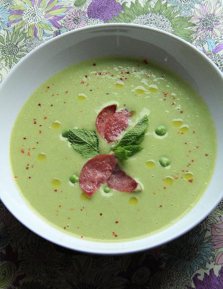 Recette soupe de petits pois au bacon et la menthe 750g - Soupe petit pois menthe ...