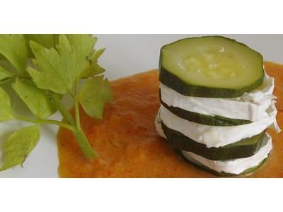 Recette mille feuille de courgette au ch vre et coulis de poivron rouge 750g - Feuille de courgette blanche ...