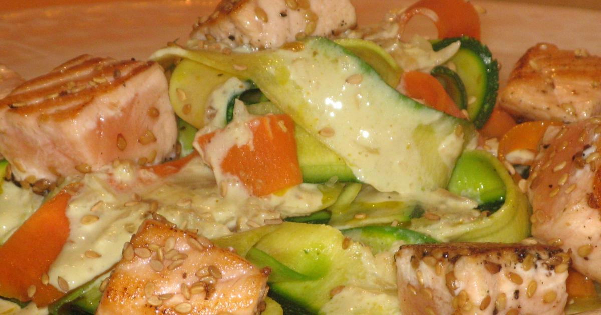 Recette - Tagliatelles de légumes au saumon et sésame   750g