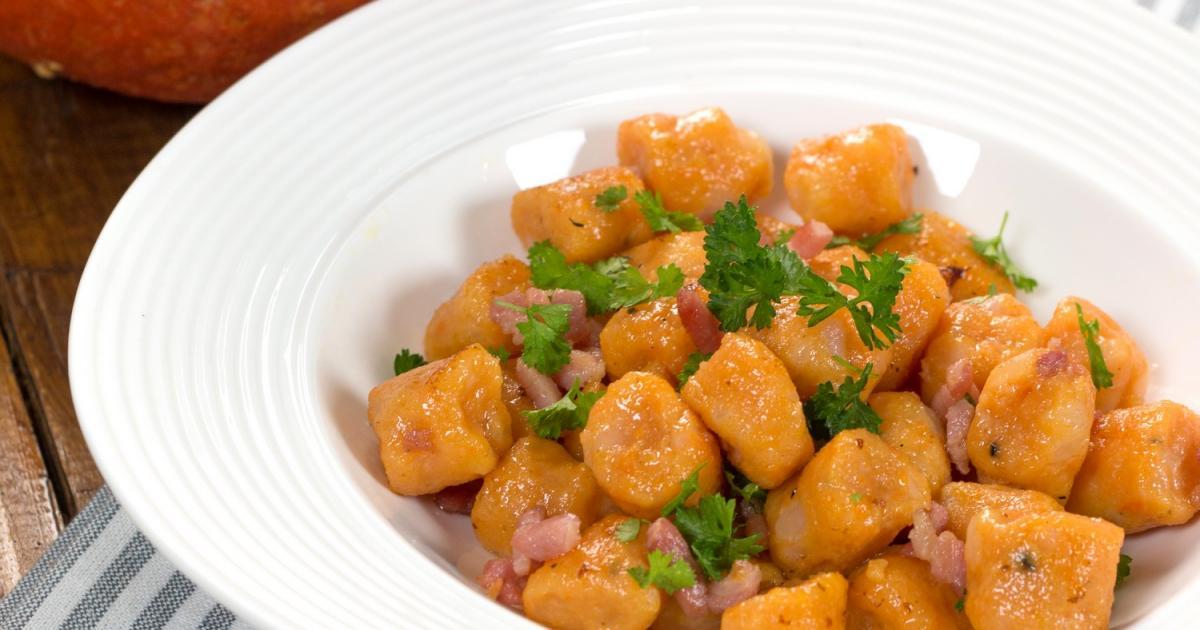 Recette gnocchis de potiron aux lardons 750g - Cuisiner des gnocchis ...