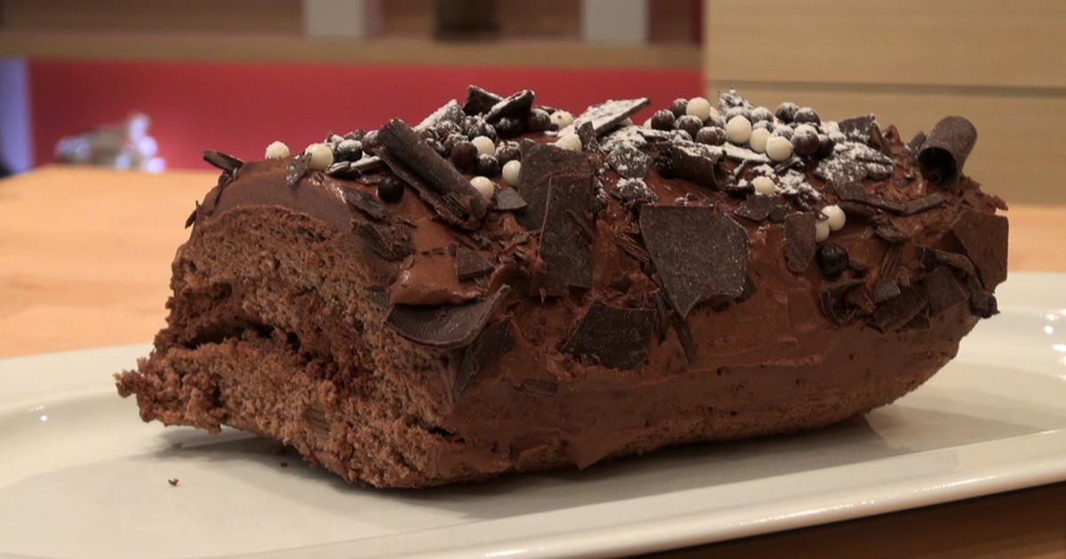 Recette b che au chocolat express en vid o - Petit plat en equilibre buche de noel ...