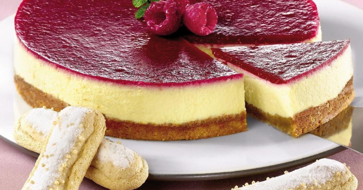 Recette - Le cheese cake au coulis de framboises   750g