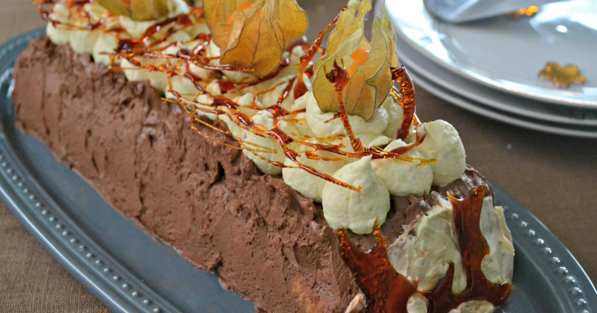 Recette b che de no l chocolat pistache g noise caramel - Petit plat en equilibre buche de noel ...