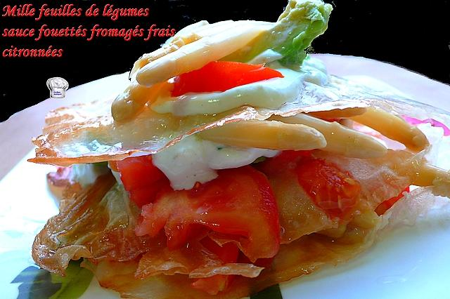 recette mille feuilles de l gumes sauce fouett s fromag s frais citronn es 750g. Black Bedroom Furniture Sets. Home Design Ideas