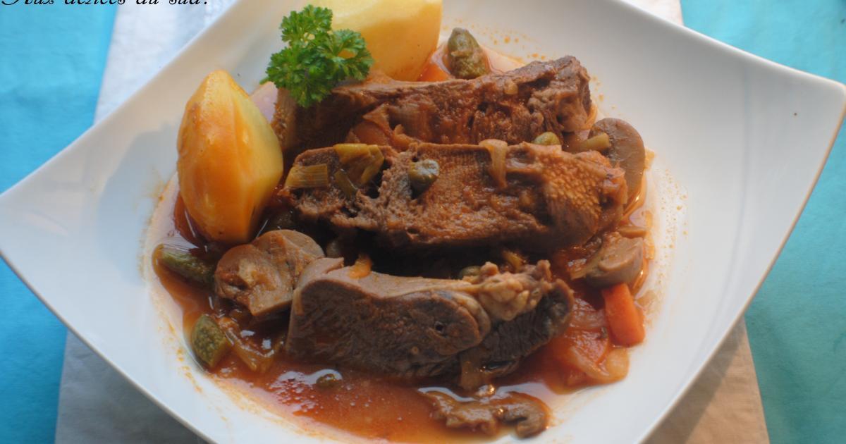 Recette langue de boeuf sauce piquante aux c pres 750g - Cuisiner une langue de boeuf ...