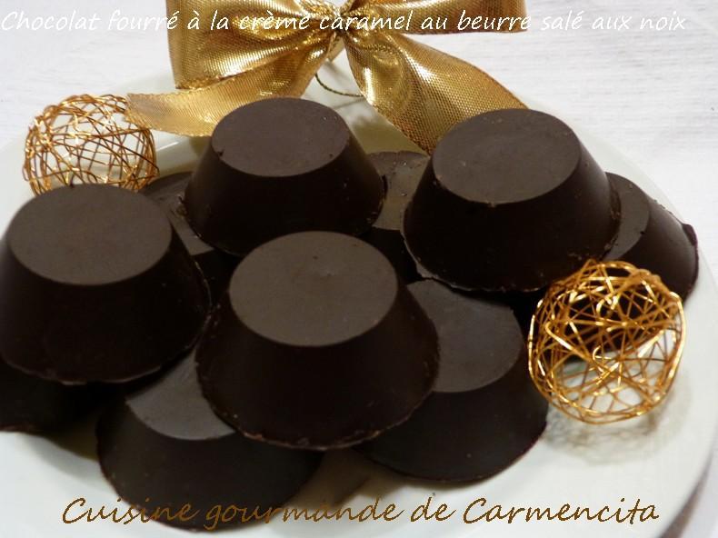Recette - Chocolat fourré, à la crème caramel au beurre salé aux noix 750g