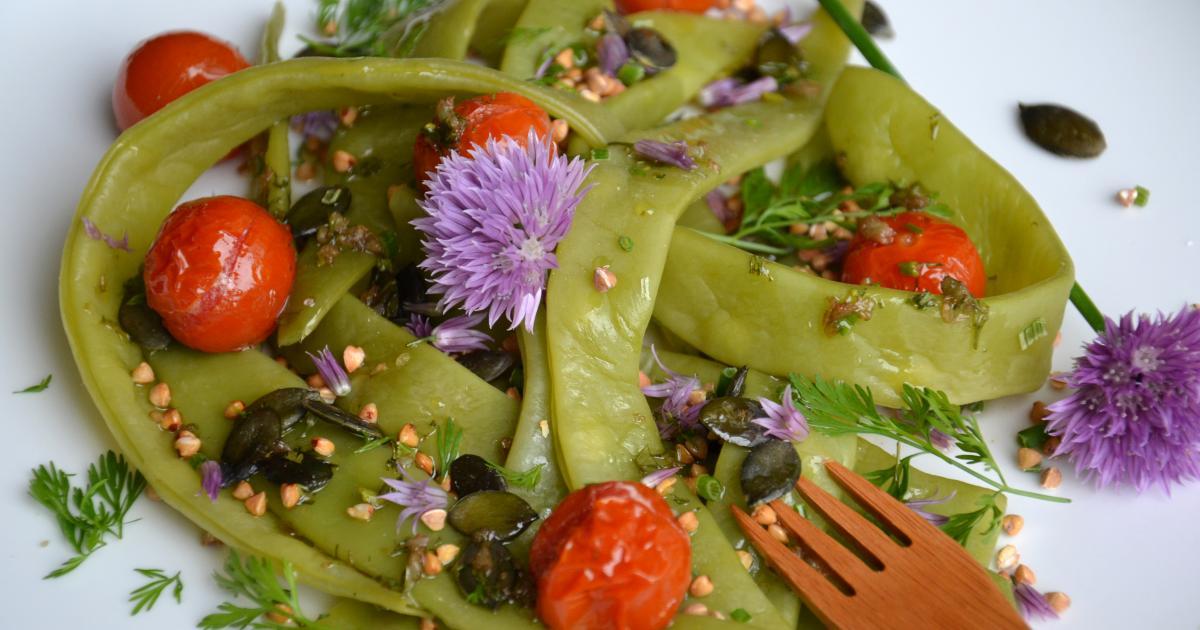recette salade de haricots plats kasha tomates cerise r ties et graines sauce aill e 750g. Black Bedroom Furniture Sets. Home Design Ideas