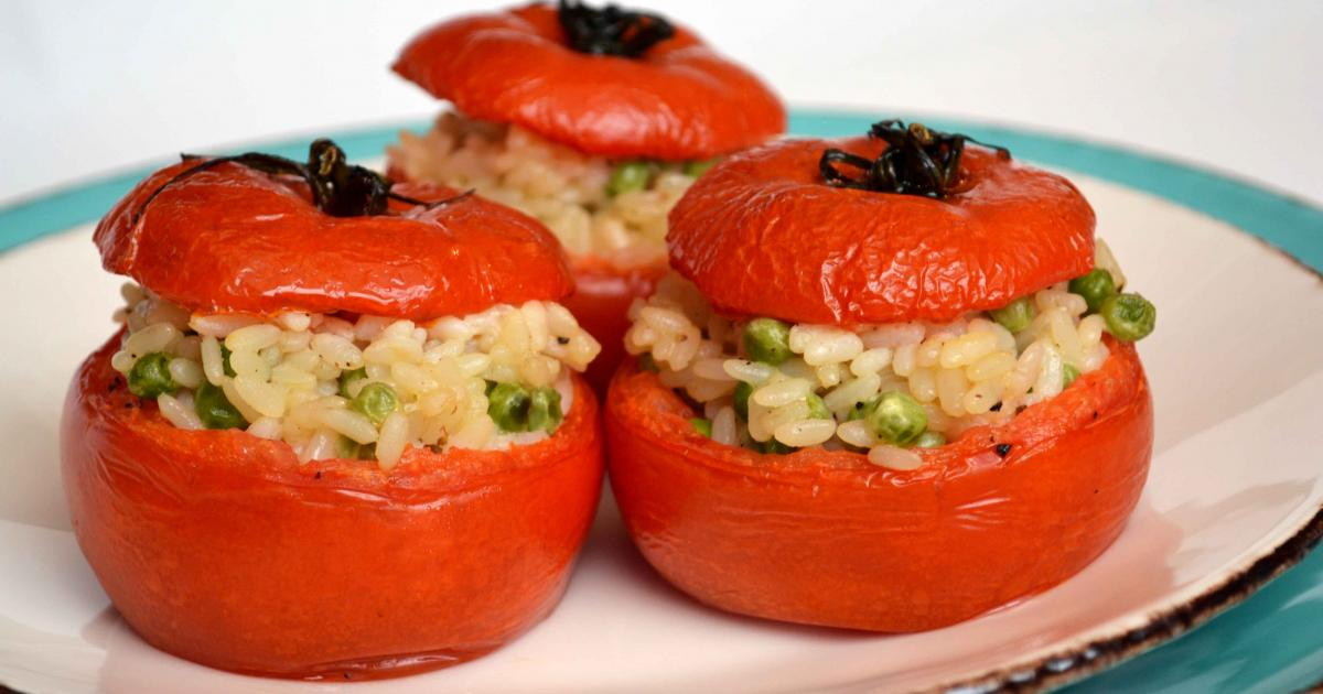 Recette tomates farcies au risotto mascarpone parmesan - Risotto tomate thermomix ...
