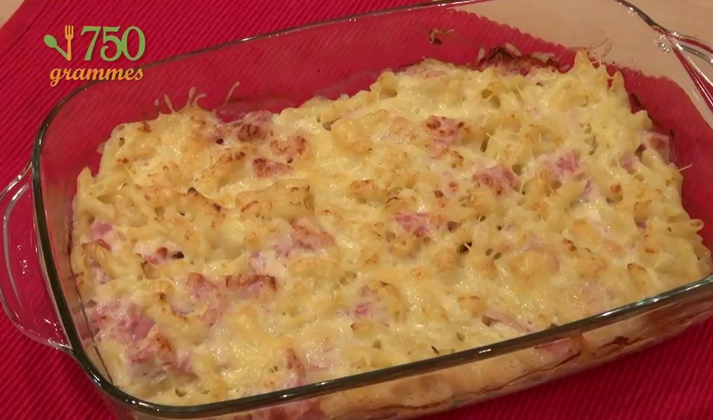recette gratin de p tes au jambon en vid o. Black Bedroom Furniture Sets. Home Design Ideas