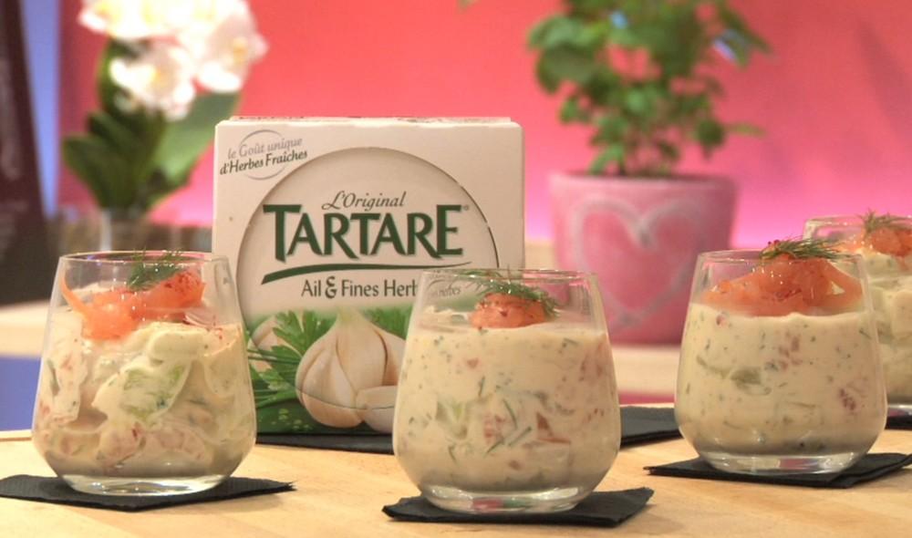 Recette - Verrine fraîcheur saumon fumé, Tartare et concombre en vidéo