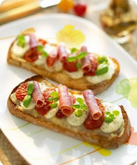 Recette bruschetta tomates confites jambon italien for Cuisine 750g