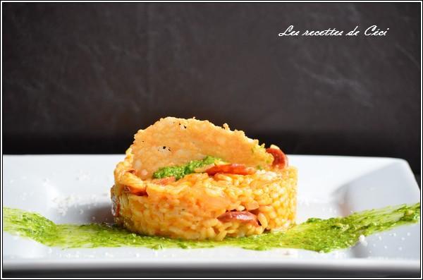 recette risotto au chorizo et au parmesan et son pesto. Black Bedroom Furniture Sets. Home Design Ideas