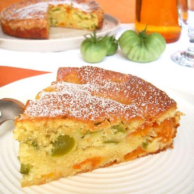 Moelleux aux tomates vertes, amandes \u0026 abricots