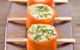 Sushis de saumon fumé à la bûche de chèvre et pomme Granny-smith