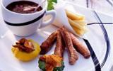 Aiguillettes de canard, frites de panais et pâtissons farcis