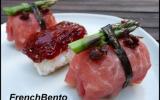 Sushi sans poisson au boeuf, asperges et tomates séchées