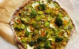 Pizza verte semi complète à la crème de courgettes