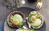 Saint-Jacques à la crème persil-cerfeuil, fraîcheur concombre à l'huile de noisettes et aneth