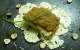 """Cabillaud rôti au beurre salé, émincé de chou-fleur à l""""huile de noisette et pâte au spéculoos"""