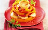 Timbales de boudin blanc, carottes et poivrons