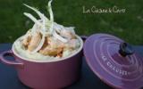 Cassolette de saumon en cru-cuit de fenouil sur purée au raifort