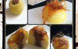 Pommes à la crème d'amande, sirop d'érable et cannelle,  en cage de caramel