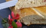 Focaccia (fougasse) lardons oignons chèvre frais