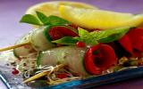 Roulades de petits légumes et de bœuf bio, en brochette