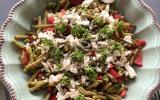 Salade de haricot verts, poivron, feta et graines de tournesol