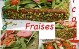 Tarte pistache et garniture ricotta pesto pistache, couverture de roquettes, pousse d'épinards, radis roses et fraises