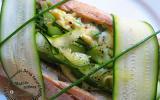 Sandwich aux lamelles de courgettes et aux oeufs à la ciboulette