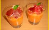 Soupe de melon au basilic et jambon sec