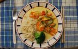 Crevettes curry, coco
