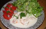 Salade de crevettes et sa sauce boursin