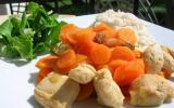 Mijoté de poulet, carottes & raisins secs