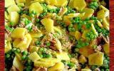 Poêlée de pommes de terre,petits pois et thon