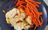 Filet de lieu noir caramélisé à l'orange et carottes