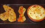 Escalope à la milanaise sauce aux tomate cerise et gratin de pâtes