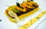 Version d'une bouillabaisse froide, crevette et st jacques au safran