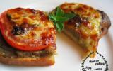 Crostinis à la chair d'aubergine, tomates, mozzarella, ail et basilic
