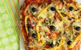 Pizza chorizo et poivrons aux trois couleurs
