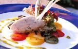 Rillettes aux deux saumons et légumes grillés à la salade de mesclun, huile d'herbes